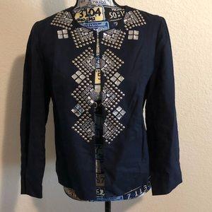 Chico's Size 0 Navy Blue Jacket